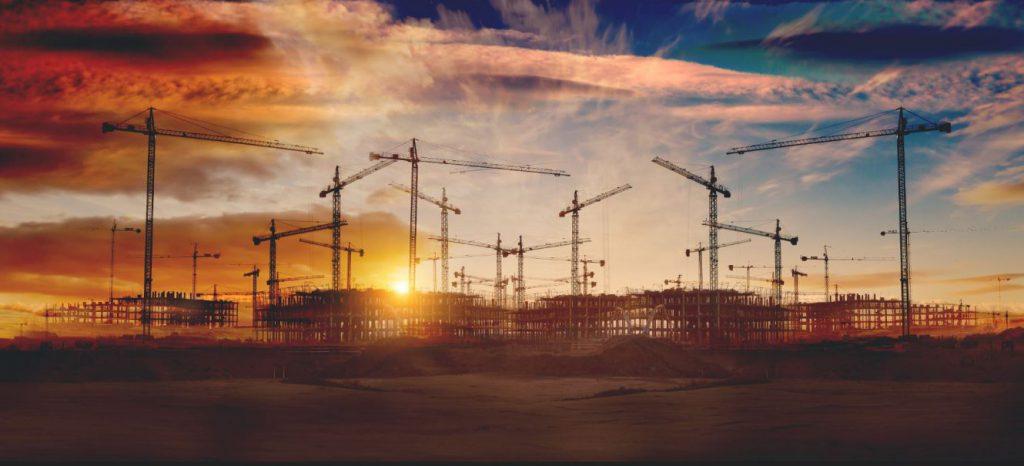 gruas construccion edificios