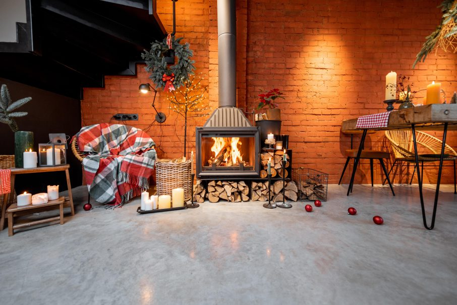 decorar salon rustico con chimenea